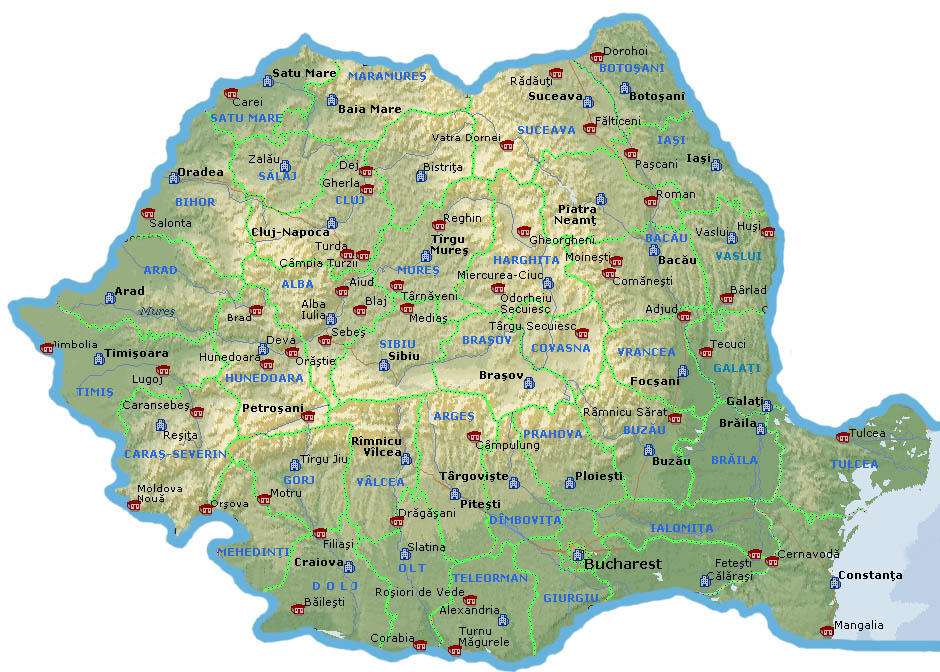 Rovt Romania Detailed Map Major Cities Of Romania Photo